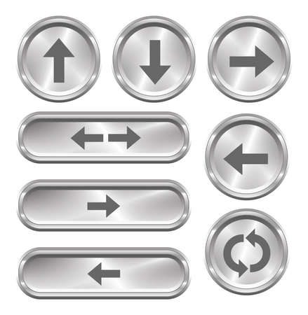 back button: A set of 8 shiny metallic arrow buttons