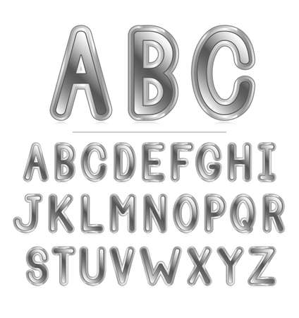 Round metallic font with reflection Stock Vector - 18264066