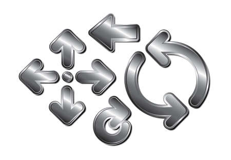 8 반짝이 금속 화살표 다크 크롬의 집합 일러스트