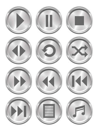 pause button: A set of 12 shiny metallic media buttons  Illustration