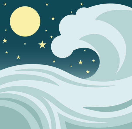 sea star: Illustration of a giant tsunami or tidal wave in the ocean against a night sky with stars and a full moon