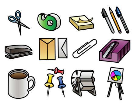 grapadora: 12 iconos coloridos dibujos animados de suministros de oficina Vectores