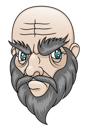 An old man with a grumpy expression  Vector