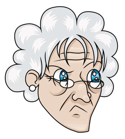 cat's eye glasses: An old woman with a suspicious expression