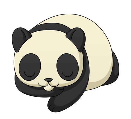 sleeping animals: An illustration depicting a cute cartoon panda sleeping