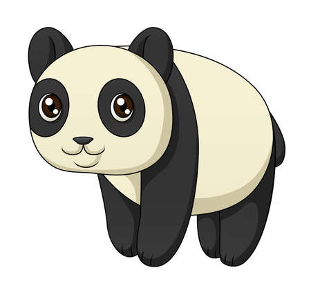 An illustration depicting a cute cartoon panda standing  Vector