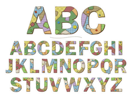 A cartoon style font depicting patchwork quilt letters