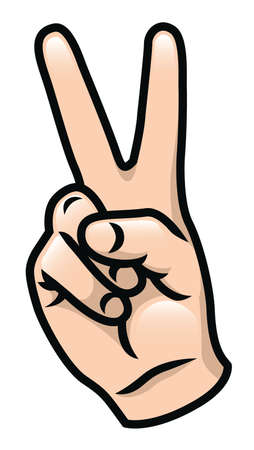 Illustration of a cartoon hand giving a peace sign  Vectores