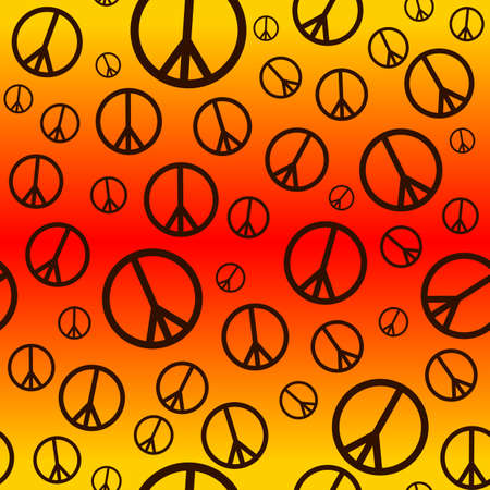 A seamlessly repeatable retro peace sign background  Vector