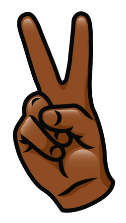 Illustration of a cartoon hand giving a peace sign  Vector