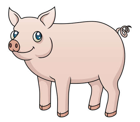 Illustration of a cartoon pig  Vector