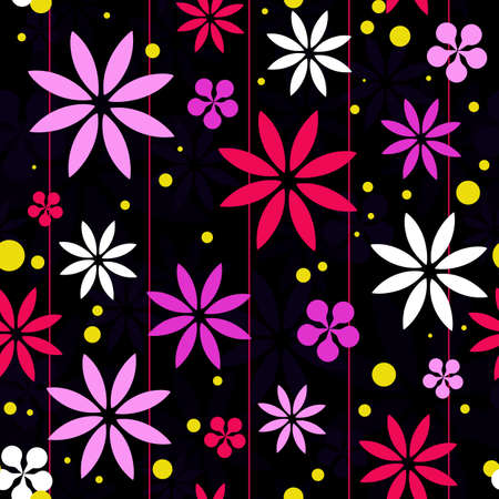 A retro styled seamless background featuring pink, white and blue flower petal shapes with vertical pinstripes and yellow spots Stock Vector - 18263503