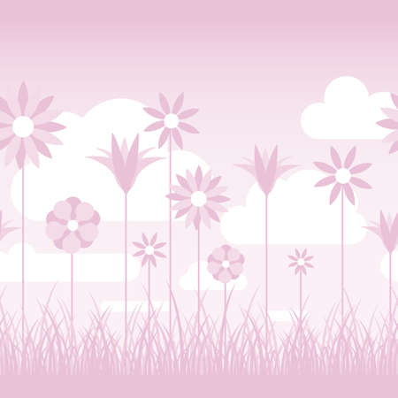 A soft pink illustration featuring flowers on stems in a grassy field  Seamlessly repeatable  Stock Illustratie
