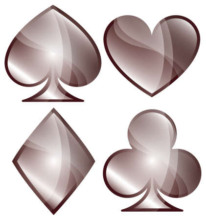un: A glossy set of playing card symbols
