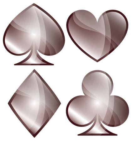 playing card symbols: Un juego brillante de jugar s�mbolos de la tarjeta