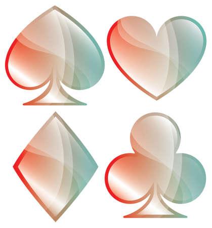 playing card symbols: Un juego brillante de jugar s�mbolos de la tarjeta se muestra en colores pastel Vectores