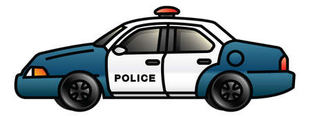 Illustration of a cartoon police car