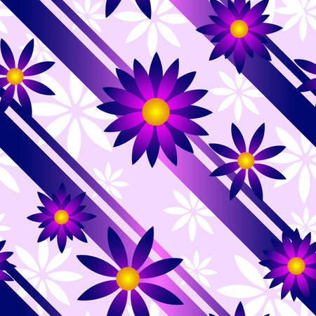 A seamlessly repeatable purple and pink flower background  Vettoriali