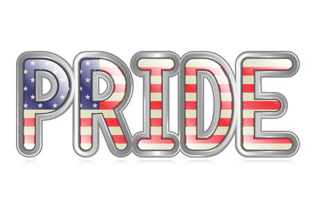 A graphical depiction of the word  Pride  with an american flag pattern