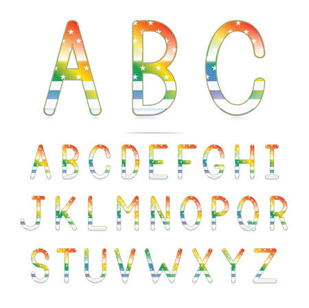 A glossy rainbow font with an american flag pattern  Illustration