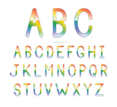 A clean and glossy rainbow font Stock Vector - 18263921