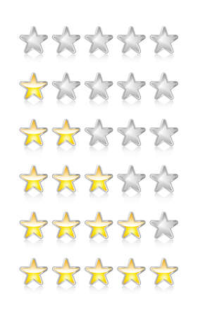 rating: Metallic and glossy rating stars on white with reflection