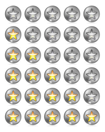 Metallic rating star buttons on white with reflection Stock Vector - 18264057