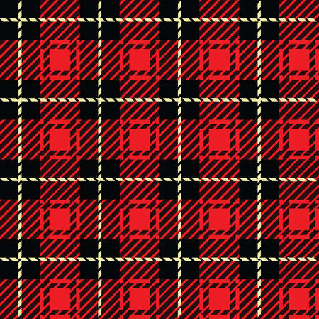 A seamlessly repeatable red plaid pattern  Vector