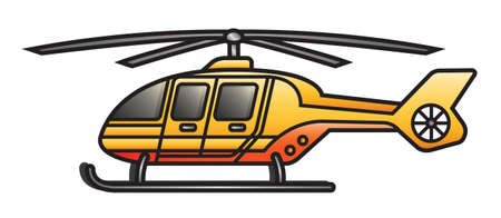 Illustration of a cartoon rescue helicopter  Vector