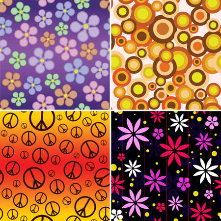 A collection of 4 seamlessly repeatable retro backgrounds  Vector