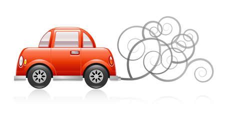 Een glossy illustratie afbeelding van een rode auto die vervuiling uitstoot Stock Illustratie