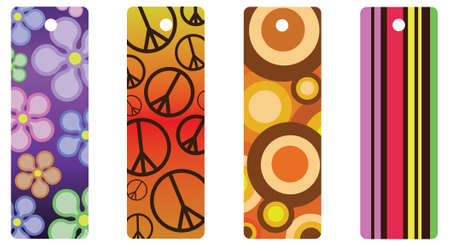 A set of four colorful retro-style bookmarks or gift tags