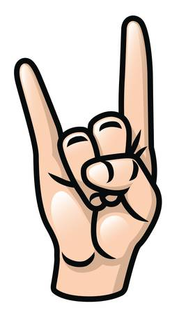 Illustration of a cartoon hand doing the sign of the horns  Vector