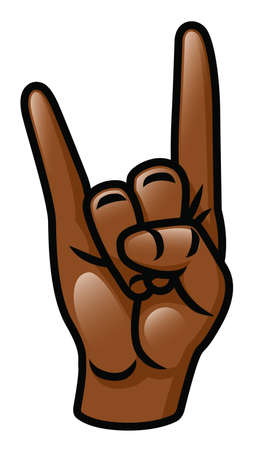 Illustration of a cartoon hand doing the sign of the horns