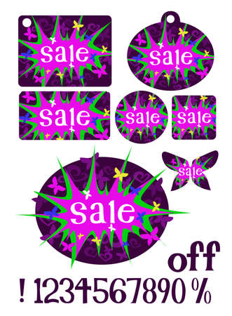 noticeable: A trendy girlie graphic designed to announce a sale, shown on different sticker and tag shapes  Includes interchangeable numbers and characters to show a percentage off