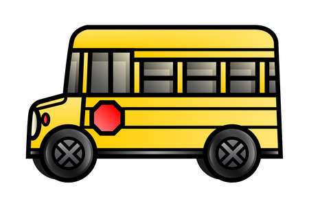 middle school: Illustration of a cartoon school bus