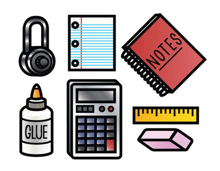 7 cute and colorful cartoon school supplies  Illustration
