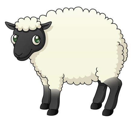Illustration of a cartoon sheep  Çizim