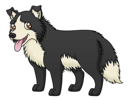 An illustration of a cartoon sheep dog  Çizim