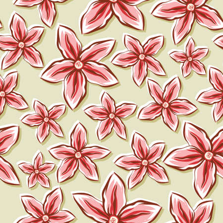 A seamlessly repeatable background depicting sketchy flowers  Vettoriali
