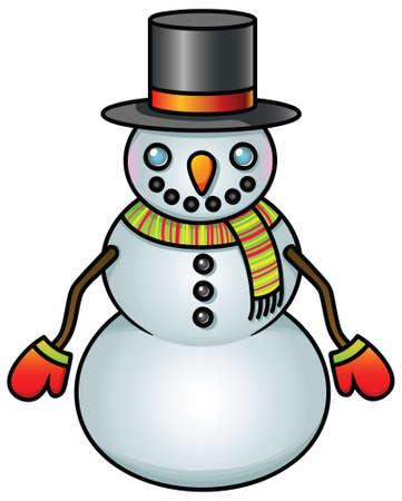 A cute cartoon snowman on white