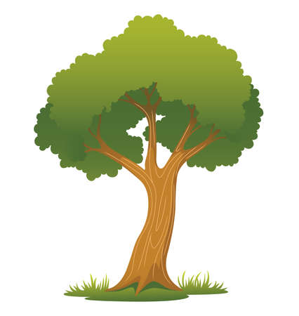 Illustration of a tree on a patch of grass  Illustration