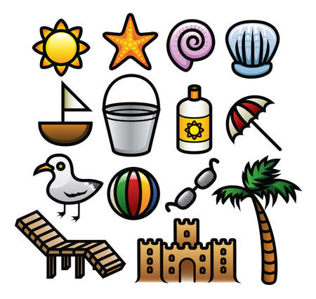 A set of cute and colorful summer icons  Vector