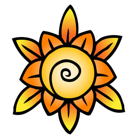A stylized abstract sun graphic