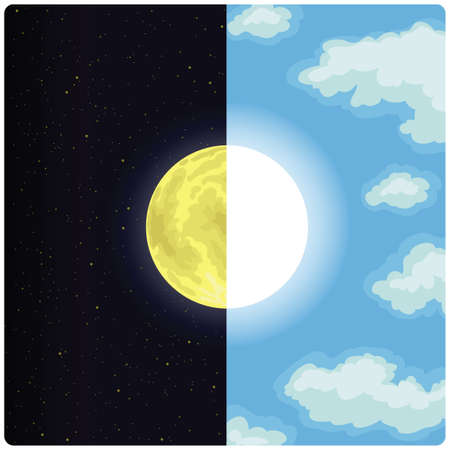 A half day and half night vector drawing