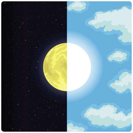 dia y noche: A medio día y media noche de dibujo vectorial