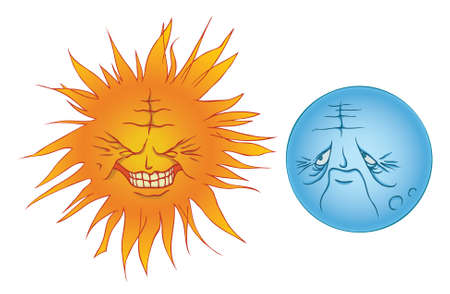frowning: A personified grinning sun and a frowning moon  Illustration