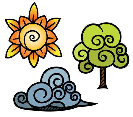A sun, tree and cloud drawn in an interesting swirly style with thick outlines  Illusztráció