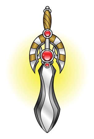 cold war: A shiny decorative short sword adorned with jewels  Illustration