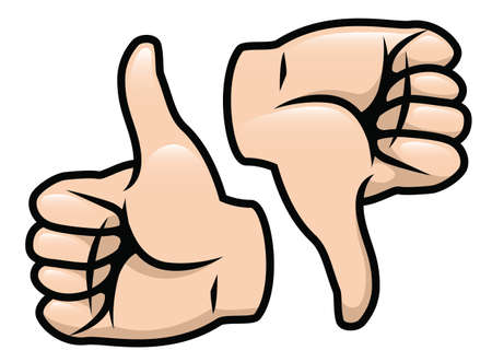 opinions: A cartoon vector drawing of a thumbs up and a thumbs down